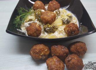 Kapros krumplifőzelék brokkolival, fasírttal