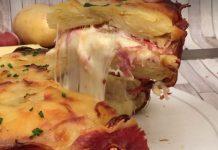 Sonkás sajtos rakott burgonya
